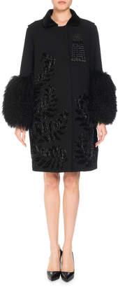 Andrew Gn Wool-Blend Embellished Coat w/ Fur Cuffs
