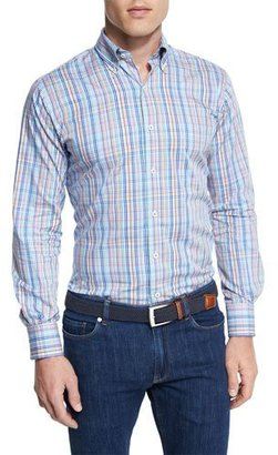 Peter Millar Crown Pin-Plaid Long-Sleeve Sport Shirt $145 thestylecure.com