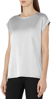 REISS Kelis Silk-Front Tee $160 thestylecure.com