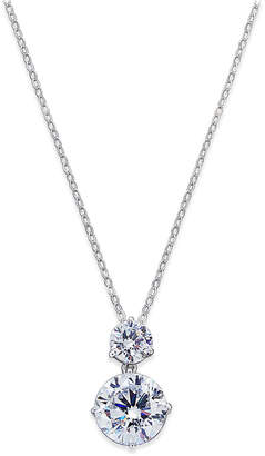 Macy's Silver-Tone Cubic Zirconia Double Pendant Necklace, Created for