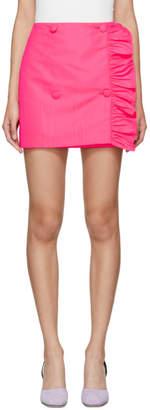 MSGM Pink Ruffles Side Buttons Miniskirt