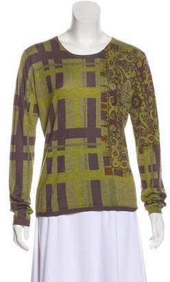 Etro Printed Silk & Cashmere Long Sleeve Top