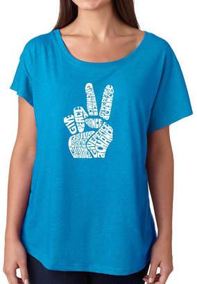 LOS ANGELES POP ART Los Angeles Pop Art Women's Loose Fit Dolman Cut Word Art Shirt - PEACE FINGERS