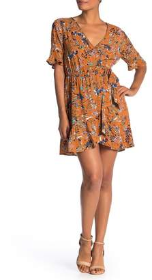 Band of Gypsies Floral Ruffled Faux Wrap Dress
