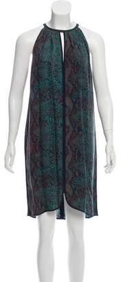 Rebecca Taylor Sleeveless Leather-Accented Print Mini Dress