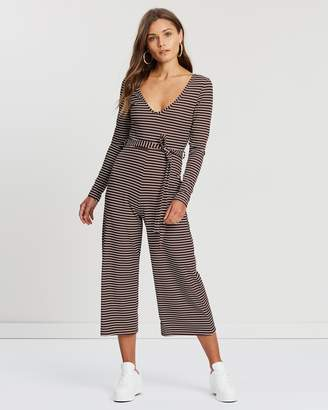Miss Selfridge Stripe Long Sleeve Rib Culotte Jumpsuit