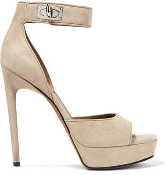 Givenchy Shark Lock Suede Platform Sandals - Beige