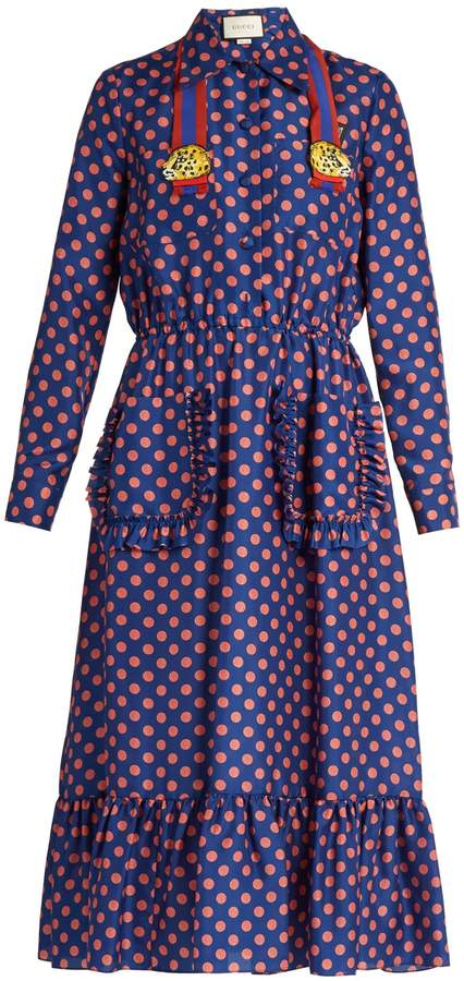 GUCCI Polka-dot print silk dress