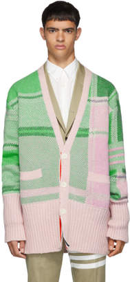 Thom Browne Green and Pink Plaid Oversized Cardigan