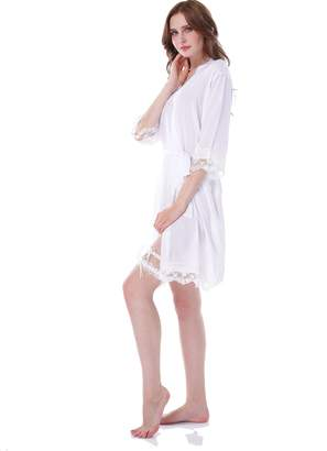 07ff864971 Juntian Women's Lace Cotton Kimono Robe With Gold And Glittering Word On  Back Bride And Bridesmaid