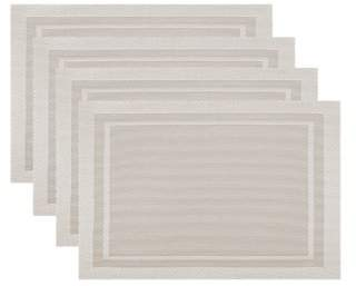 Fete Moderne Set of 4 Easy Care Wipe Clean Border Placemat | Champagne