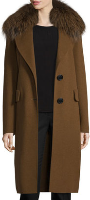 Derek Lam 10 Crosby Wool-Blend Coat w/ Fox Fur, Spice $995 thestylecure.com