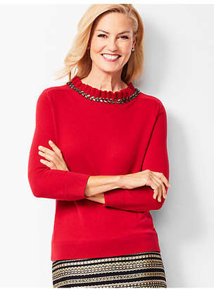 Talbots Embellished-Neck Top
