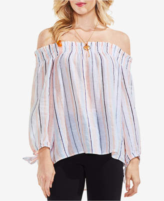 Vince Camuto Striped Off-The-Shoulder Linen Top