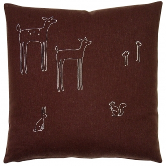 Pin It K Studio Woodland Square Pillow - Brown With White Stitch