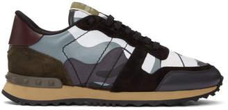 Valentino Grey Garavani Camo Rockrunner Sneakers