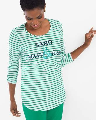 Chico's Chicos Striped Sand Sun and Fun Tee