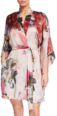 Christine Lingerie Camille Floral-Print Silk Short Robe