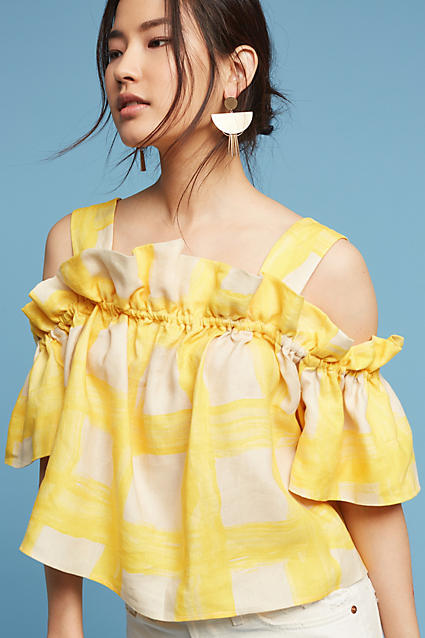 WHIT Ruffled Gingham Open-Shoulder Top