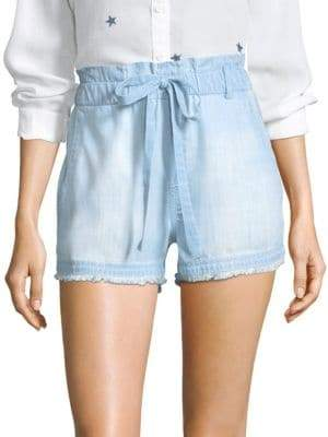 Bella Dahl Ruffled Fray Hem High Waist Shorts