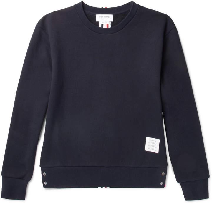 Stripe-Trimmed Loopback Cotton-Jersey Sweatshirt