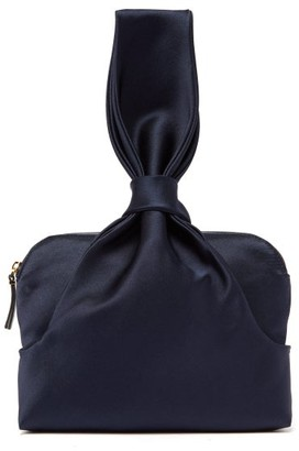 The Row Knotted Silk Satin Wristlet Clutch - Womens - Navy