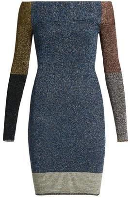 Christopher Kane Contrast Panel Metallic Knit Dress - Womens - Multi