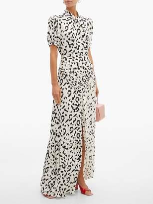 Self-Portrait Self Portrait Open Back Leopard Print Crepe Maxi Dress - Womens - Black White