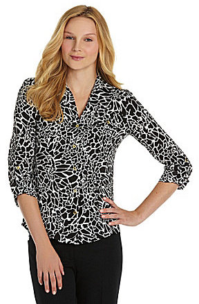 Jones New York Collection Printed Georgette Blouse