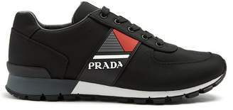 Prada Contrast Panel Low Top Trainers - Mens - Black