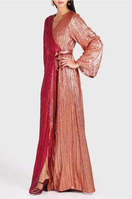 Madiyah Al Sharqi Two Tone Belted Sequin Robe Dress