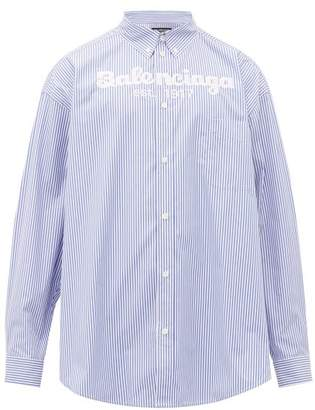 Balenciaga Logo Embroidered Striped Cotton Shirt - Mens - Blue White