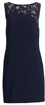 Theia Women's Embellished Crepe Shift Dress