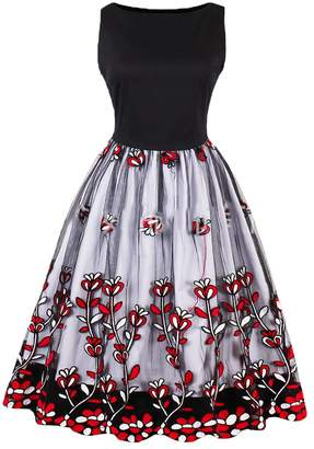 OMZIN 1950s Vintage Dress Lace Floral Print Dress Wedding Party Dresses Blue,S