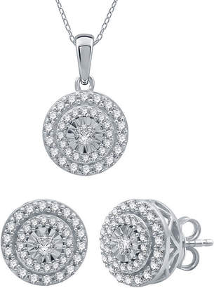EVER STAR Ever Star 1 CT. T.W. Lab Grown White Diamond 10K White Gold Round 2-pc. Jewelry Set