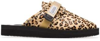 Suicoke Leopard Print Sheep Skin and Calf Hair Slippers