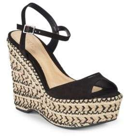 Schutz Veridiane Leather Wedge Espadrilles