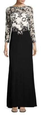 Tadashi Shoji Long Sleeve Lace Bodice Gown $459 thestylecure.com