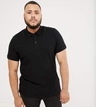 Asos Design DESIGN Plus pique polo with button down collar in black