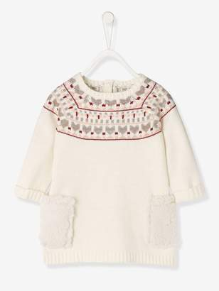 Vertbaudet Baby Knitted Dress with Jacquard Motif