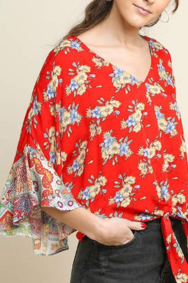 Umgee Paisley Floral Bell Sleeve Top