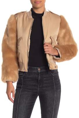 KENDALL + KYLIE Kendall & Kylie Faux Fur Long Sleeve Bomber Jacket