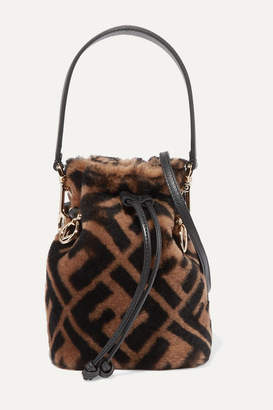 Fendi Mon Trésor Mini Leather-trimmed Shearling Bucket Bag - Brown