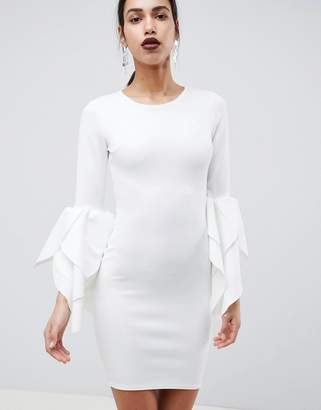 Club L Sleeve Detail Scuba Bodycon Dress