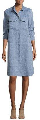Go Silk Long-Sleeve Linen Shirtdress, Petite $144 thestylecure.com
