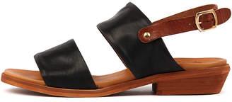 EOS Leona-w Black-brandy Sandals Womens Shoes Casual Sandals-flat Sandals