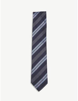 Eton Diagonal-stripe cotton and silk tie