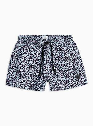 Topman Mens Blue Leopard Print Swim Shorts