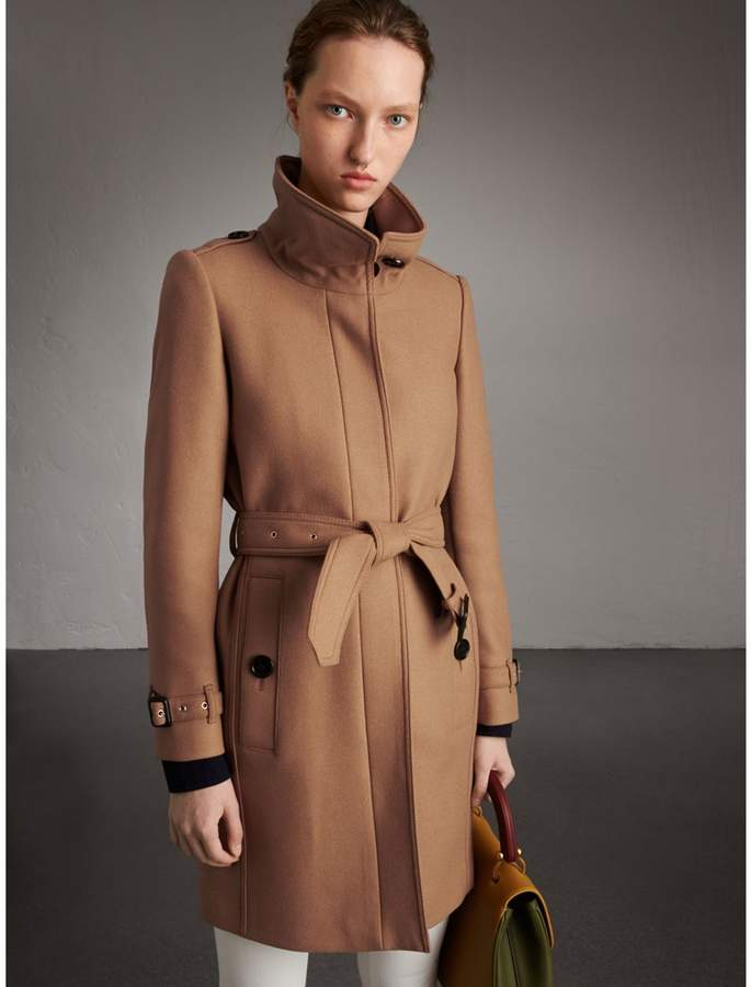 Burberry Technical Wool Cashmere Funnel Neck Coat