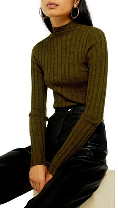 Topshop Marled Ribbed Funnel Neck Sweater